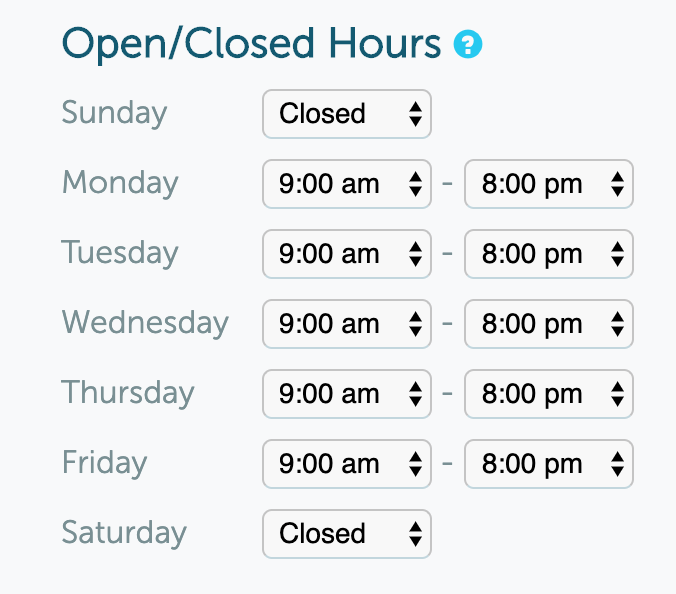Open/Closed Hours