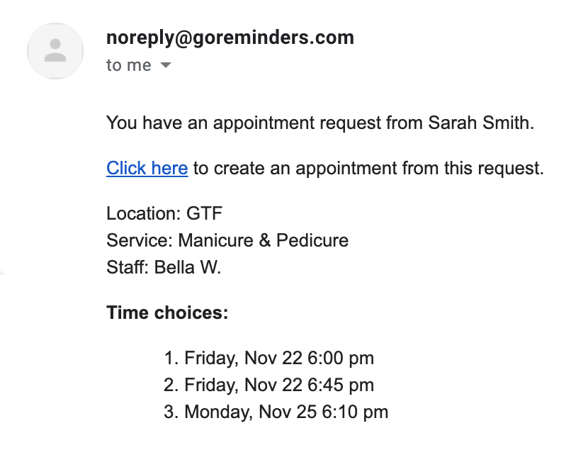 Sample appointment request